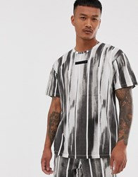 Religion Loose Fit Co Ord T Shirt With Brushed Stripe Print In Black