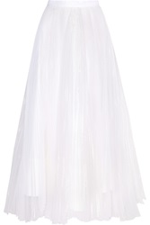 Alice Olivia Bethie Pleated Organza Maxi Skirt White