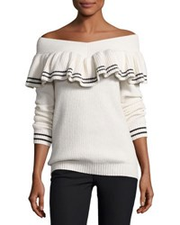 Self Portrait Striped Off The Shoulder Rib Knit Sweater White