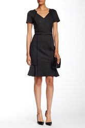 Nue By Shani Cap Sleeve Piped Dress Gray
