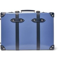 Globe Trotter 20 Leather Trimmed Carry On Suitcase Blue