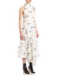 Proenza Schouler Mockneck Sleeveless Printed Dress White