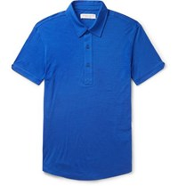 Orlebar Brown Sebastian Slim Fit Merino Wool Jersey Polo Shirt Blue