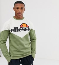 Ellesse Fillipo Recycled Cut And Sew Sweatshirt In Green Exclusive At Asos