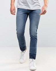 Sisley Skinny Jeans With Cut And Sew Ankle Detail And Cropped Indigo 835 Blue
