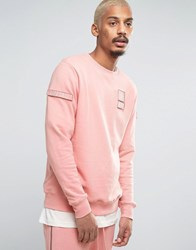 Dxpe Chef Sweatshirt In Pink With Military Patches Pink