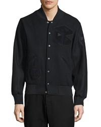 Opening Ceremony Tristan Snap Front Varsity Jacket Black