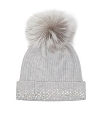 William Sharp Embellished Pom Pom Hat Grey