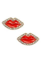 Women's Kate Spade New York 'Love List' Lip Stud Earrings Red