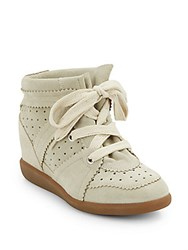 Etoile Isabel Marant Perforated Suede High Top Sneakers Chalk