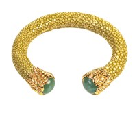 Latelita London Stingray Bangle With Stone Gold Gold Green