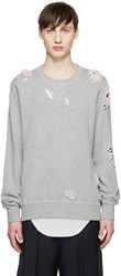 Miharayasuhiro Grey Distressed Sweatshirt