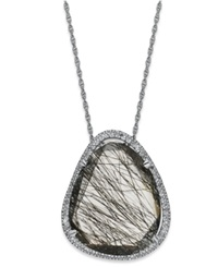 Macy's Sterling Silver Necklace Black Rutilated Quartz 11 3 4 Ct. T.W. And Diamond 1 4 Ct. T.W. Pendant