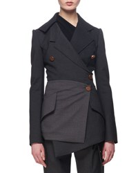 Proenza Schouler Double Breasted Wrap Blazer Charcoal