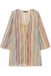 Missoni Striped Metallic Crochet Knit Kaftan Yellow