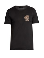 Balmain Badge Embroidered Crew Neck Cotton T Shirt Black