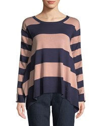 Joan Vass Long Sleeve Crewneck Relaxed Mixed Media Stripe Sweater Dusty Rose Eclips