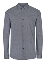 Topman Navy And White Nordic Print Long Sleeve Shirt Blue