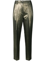 Moschino Vintage Tapered Cropped Metallic Trousers