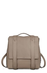 Allsaints Fin Leather Backpack Brown Almond Brown