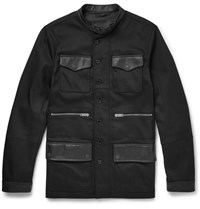 Alexander Mcqueen Slim Fit Leather Trimmed Stretch Twill Jacket Black