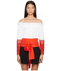 Sportmax Samaria Off The Shoulder Long Sleeve Top Optical White Women's Long Sleeve Pullover