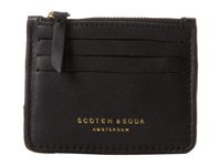 Scotch And Soda Leather Credit Card Wallet With Zipper Black Wallet Handbags