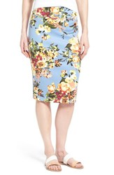 Women's Bobeau Floral Print Pencil Skirt Blue