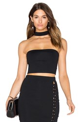 Donna Mizani Strapless Mock Neck Crop Top Black