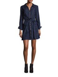 7 For All Mankind Zip Front Belted Mini Dress Dark Empress