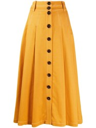 Sjyp Button Up Flared Skirt Yellow