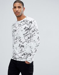 Tom Tailor Crew Neck Sweat With Marble Print White