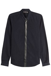 The Kooples Cotton Shirt With Leather Blue