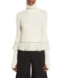 Jonathan Simkhai Studded And Fringed Turtleneck Sweater Ivory