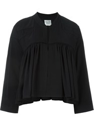 Forte Forte Pleated Panel Zip Up Cropped Jacket Black