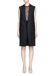 Alexander Wang Shawl Lapel Long Virgin Wool Vest Black