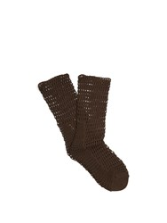 Raey Fishnet Socks Dark Khaki