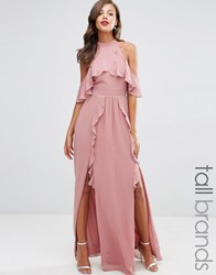 Tfnc Tall Wedding High Neck Maxi Dress With Frills Dusty Pink