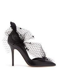 Andrea Mondin Gloria Feather Mesh And Leather D'orsay Pumps Black