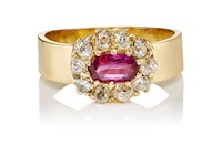Renee Lewis Women's White Diamond And Ruby Ring Red