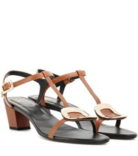 Roger Vivier Chips Leather Sandals Brown