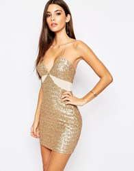 Tfnc Allover Sequin Mini Dress With Cut Out Mesh Details Goldnudemesh