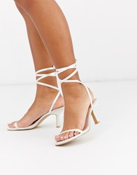 Be Mine Bridal Levinia Ankle Tie Heeled Sandals In Ivory Satin White
