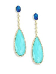 Meira T Diamond Opal Turquoise Doublet And 14K Yellow Gold Drop Earrings