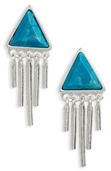 Treasure And Bond Women's Triangle Fringe Stud Earrings Turquoise Rhodium