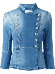 Pierre Balmain Military Style Denim Jacket Blue