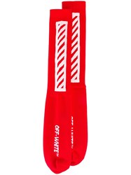 Off White Stripe Detail Socks Red