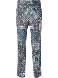 Versace Floral Cropped Trousers Multicolour