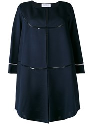 Gianluca Capannolo Cropped Sleeve Coat Women Elastodiene Polyamide Polyester Viscose 44 Blue