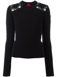 Moncler Gamme Rouge Embellished Shoulder Jumper Black
